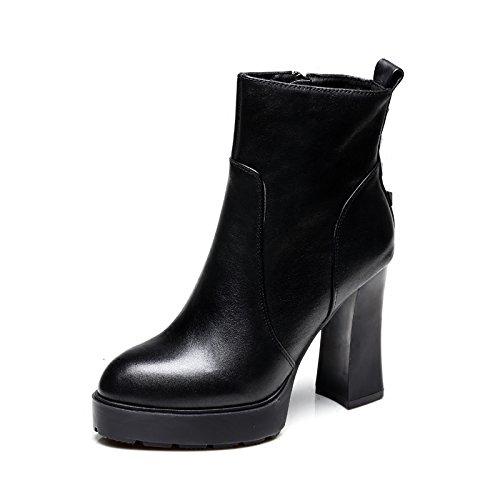 GTVERNH-10Cm Hochhackige Stiefel Dicksohlige Britischen Stil Martin Martin Martin Stiefel Schuhe Mit Dicken Runden Retro 9c5d71