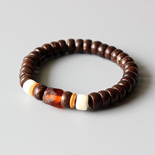 TALE Eco Brown Coconut Shell Beaded Stretch Bracelet with Orange Chinese Lampwork (Shell Bangles Wooden)