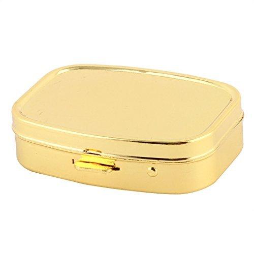 eDealMax metallo rettangolo 2 Griglia d'umidit Medicina pillola titolare Storage Box 55 x 45 x 15mm tono oro