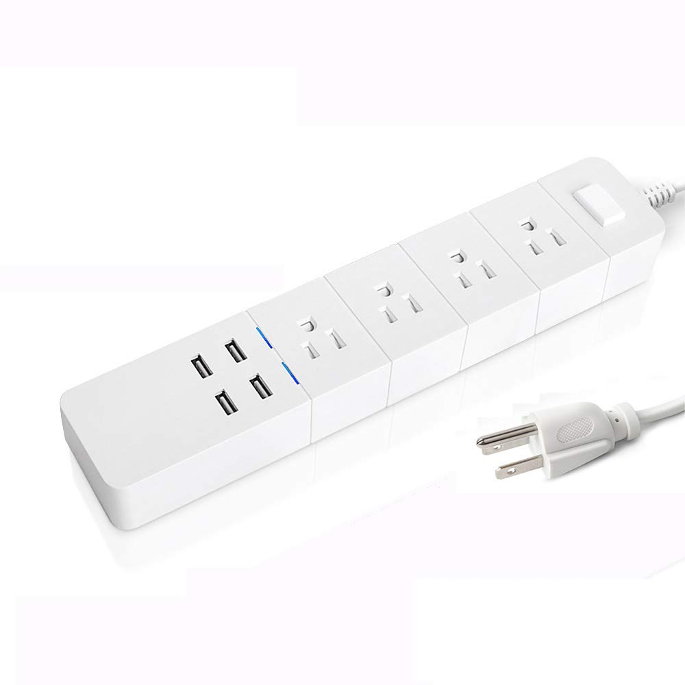 Wifi Smart Power Strip, Smart Surge Protector with 4 USB Charging Ports and 4 Smart AC Plugs for Multi Outlets Power Socket Extension Cord, Alexa Voice controllable