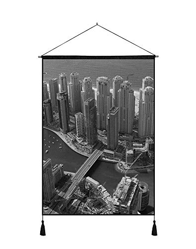 18x26 Inches Art Ptint Wall Scroll Poster - Dubai UAE Buildings Skyscrapers Coast Sea Bridge - Wall Art Hanging Shaft Painting for Wall Decoration Black and White ()