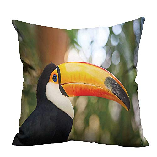 (YouXianHome Home Decor Pillowcase Colorful Tucan in The Aviary Durable Polyester Fabric(Double-Sided Printing) 27.5x27.5)
