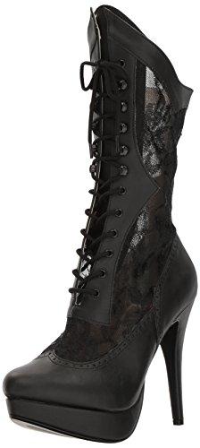 Chloe-115 Plateau-Stiefel mit Spitze und Stilettoabsatz schwarz - Steampunk Victorian - (EU 42,5 = US $ 12) - Pleaser Rosa-Aufkleber