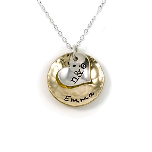 Sentimentally Close-Personalized Charm Necklace. Features 2 Customized Initials on a Sterling Silver Heart Charm and a Customized Name on a 14k gold plated Disc. Choice of Sterling Silver Chain (Monogram Heart)