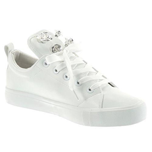 Angkorly Women's Fashion Shoes Trainers - Tennis - Flowers - Jewelry Flat Heel 2.5 cm White yjO1DD2yw3
