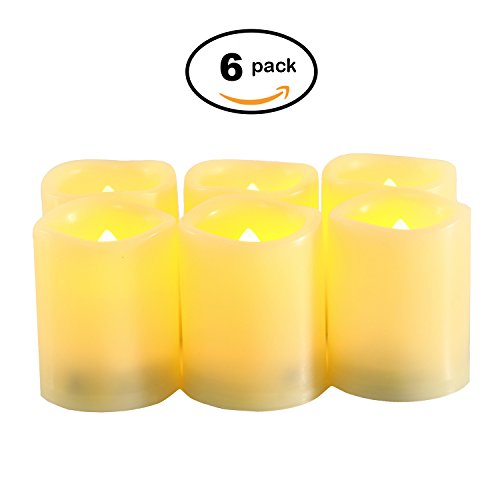ndles, Battery Operated Votive Tea Lights Candles with Timer Set of 6/Electric Flameless LED Tealight Candles for Birthday Party Home Decor 200+ Hours (Batteries Included) (Battery Flicker Candles)