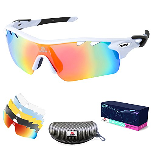 AFARER Polarized Sports Sunglasses for men women Outdoor Driving Fishing Cycling Running Golf with 5 Set Interchangeable Lenses TR90 Unbreakable Frame (White - Revo Frames
