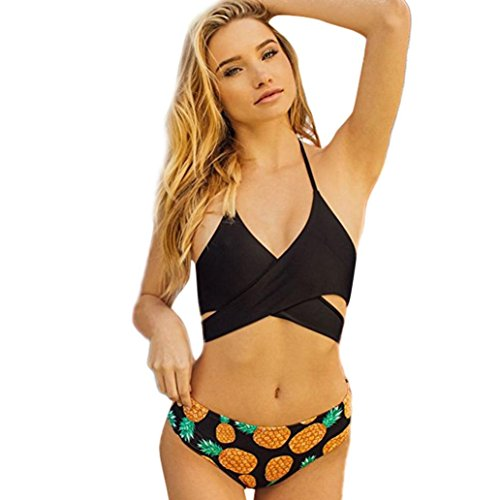 Price comparison product image Morecome Women's Pineapple Print Two Pieces Swimsuit,Cross Padded Floral Print Halter Bikini for Women Banded (L, Orange)
