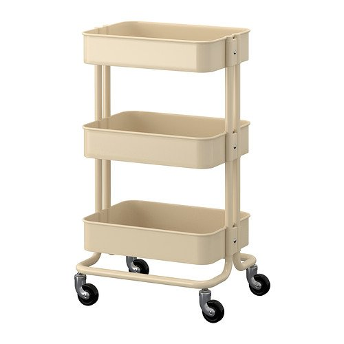 RASKOG Home Kitchen Bedroom Storage Utility Cart Dark Beige 4 Pack