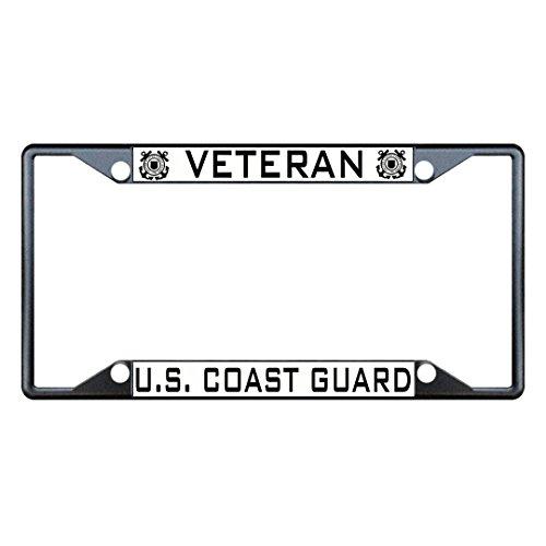 Veteran U.S. Coast Guard Black Metal License Plate Frame Holder Four (Frame Guard)