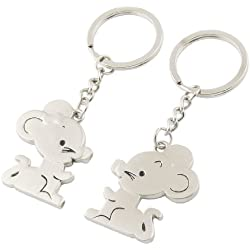 Pair Simulated Metal Mouse Keyring Key Chain Valentine Day Gift for Lovers