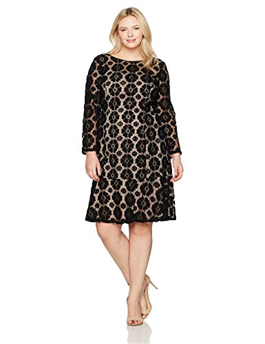 Dress Lace Flounce (Adrianna Papell Women's Size Plus Textured Florl Lace Flounce Dress, BlackPale Pink, 16W)