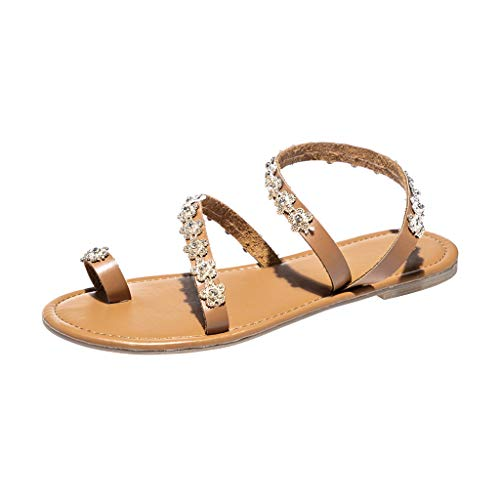 SSYUNO Womens Thong Flat Sandals Boho Crisscross Strappy Fashion Crystal Slippers Summer Beach Sandals Roman Shoes Brown ()