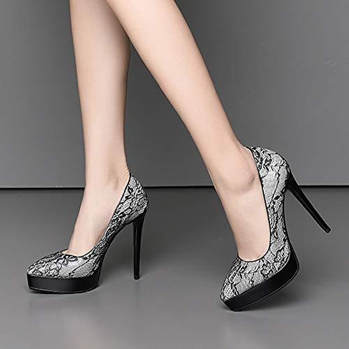 Temporadas Verano Altos Moda Cuero Fiesta Tacones En Primavera Zapatos Punta Encaje De Mujer Plataforma Shinik Cuatro Negro 6Fwxz5