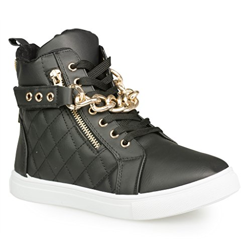 Twisted Women's Addison Quilted Faux Leather Hi-Top Fashion Sneakers with Gold Chain and Zipper Details- BLACK, Size 10 (Girls Hi Top Sneakers compare prices)