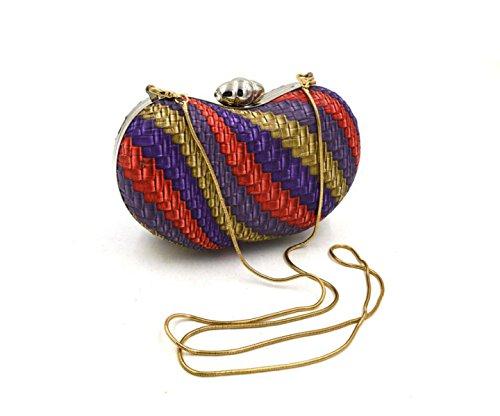 GSHGA Bolsos De Embrague De Las Mujeres PU De Cuero Tejido De La Tarde Bolsos De Ocio Bolsa De Hombro,Multi-colored Multi-colored