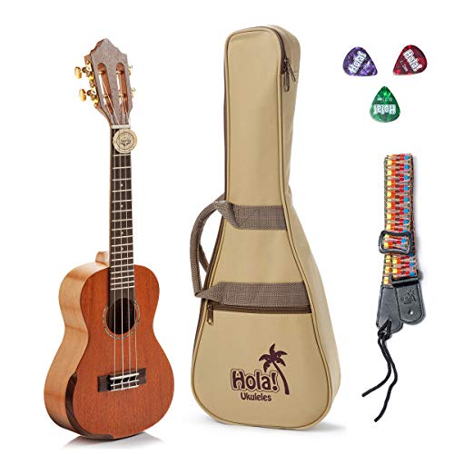 Tenor Ukulele Professional Series by Hola! Music (Model HM-427SMM+), Bundle Includes: 27 Inch SOLID Mahogany Top Ukulele with Aquila Nylgut Strings Installed, Padded Gig Bag, Strap and Picks (Nickel Super Gem)