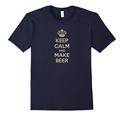 Mens Keep Calm and Make Beer t-Shirt XL Navy