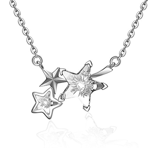 YAN & LEI Sterling Silver Triple Swarovski Crystal Shooting Stars Pendant Necklace Color Silver
