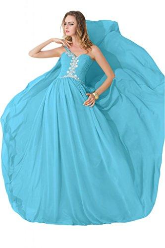 sunvary modesto One hombro gasa único beidesmaid Pageant vestidos 2015 Azul