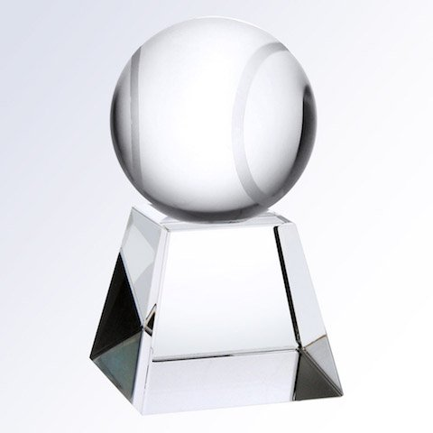 Engraved Crystal Tennis Ball Championship Trophy Award Recognition - Free Engraving Prism Crystal Awards