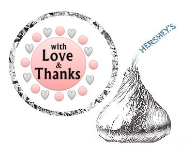 CakeSupplyShop Item#45079 216 With Love and Thanks Party Favor Hershey's Kisses Stickers / Labels - Peach (Label Peach)