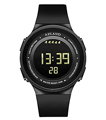 AZLAND 7 Colors Flashing, 3 Multiple Alarms Reminder Sports Kids Wristwatch Waterproof Boys Girls Digital Watches Camo by AZLAND