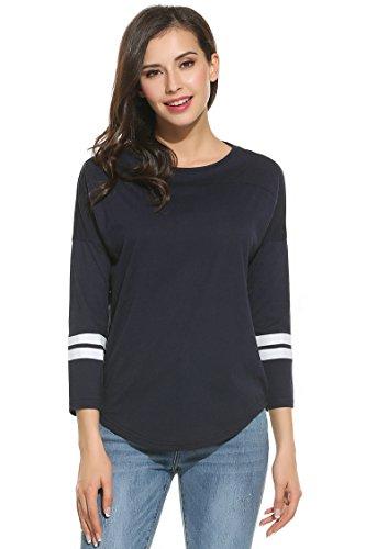 Zeagoo Women's Cotton Crew Neck 3/4 Sleeve Raglan Baseball Tee Shirt Tops 41yxVSKEYBL