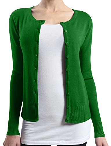LE3NO Womens Basic Round Neck Fine Knit Cardigan  GREEN Large (Basic Fine Knit)