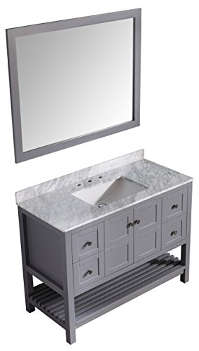 UPC 191042002180, Montaigne 48 in. W x 35 in. H Bath Vanity in Rich Gray with Carrara White Marble Vanity Top in Carrara White with White Basin and Mirror