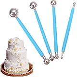 DPIST Fondant Tools Metal Ball Fondant Cake Decorating Sugarcraft Gumpaste Flower Modelling Mold 4pcs