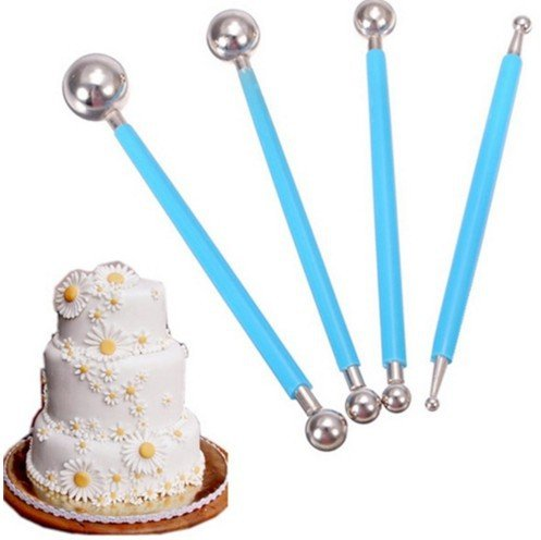 DPIST Fondant Tools Metal Ball Fondant Cake Decorating Sugarcraft Gumpaste Flower Modelling Mold 4pcs