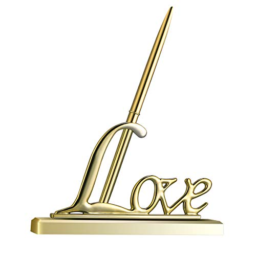 NUOLUX Signing Pen with Metal Love Holder for Wedding Color Gold Total Length -