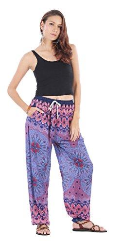 CandyHusky - Pantalón - para mujer Peacock Mandala Purple