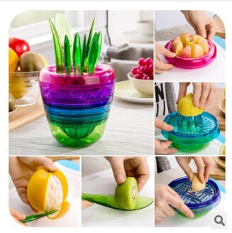 Multifunctional Squeezer Salad Making Tools/ Kitchen Gadgets Fruit Vegetable Dice Set Masher Peeler Slicer Fork