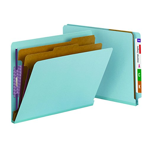 "Smead End Tab Pressboard Classification File Folder with SafeSHIELD Fasteners, 2 Dividers, 2"" Expansion, Letter Size, Blue, 10 per Box (26781)"