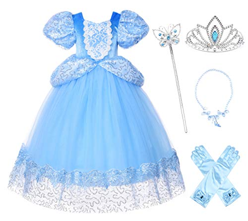 JerrisApparel Girl Princess Dress Deluxe Cinderella Costume Halloween Party Cosplay (5, Blue with Accessories) ()