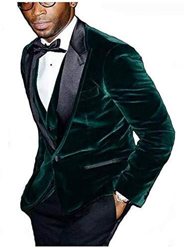 Men's Shawl Lapel Wedding Suits 3 Pieces Men Suits Groom Suit Jacket Vest Pants Business Suit Dark Green 44 Regular / 38 Waist