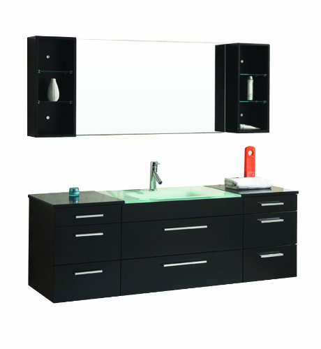 Virtu USA UM-3089-G-ES Columbo 63-Inch Wall-Mounted Single Sink Bathroom Vanity with Integrated Glass Basin, Espresso Finish