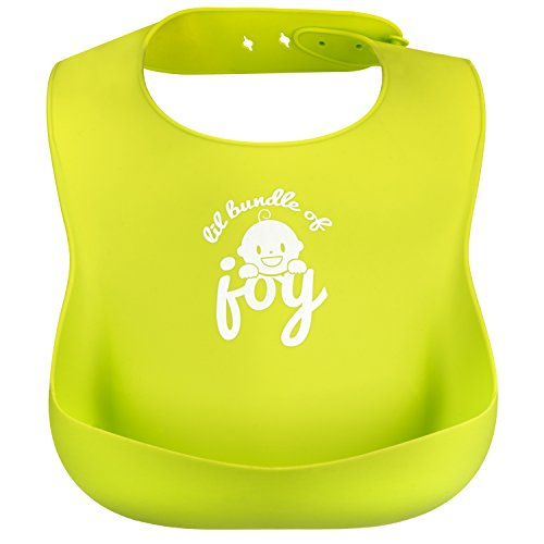 [IMPROVED] Silicone Bib - New Design with Reinforced Buttonholes - Waterproof Baby Bibs with Wide Pocket that Catches Everything - Make Mealtime Easier and Less Messy - Set of 2 -