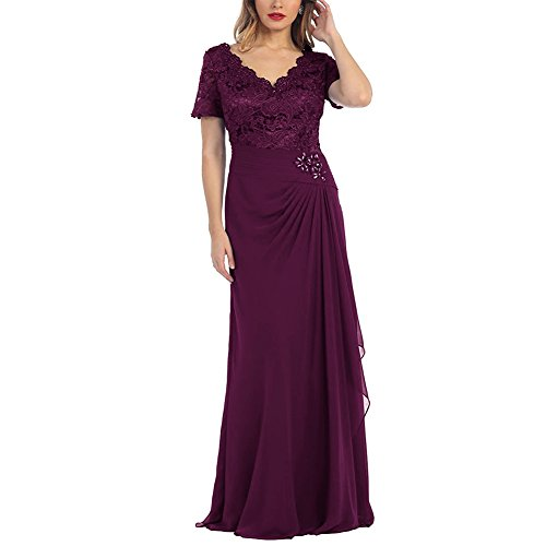 H.S.D V Neck Mother of the Bride Dress Short Sleeve Formal Gowns Purple 26W ()