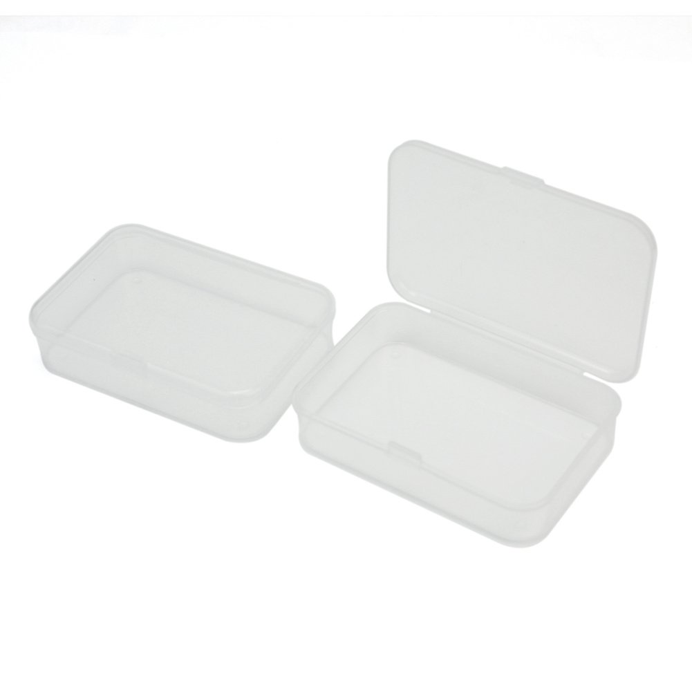 2Pcs Plastic Transparent Clear Storage Box Collection Container Case with Lid ReFaXi