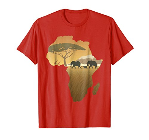 Mens Africa T-Shirt Elephant Map Dad South Animal Big Five Safari Medium Red (Africa T-shirt Map)