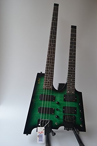 Neck Guitars Bass Double (Dluble neck headless guitar and bass 24F mahogany body (green) (green))