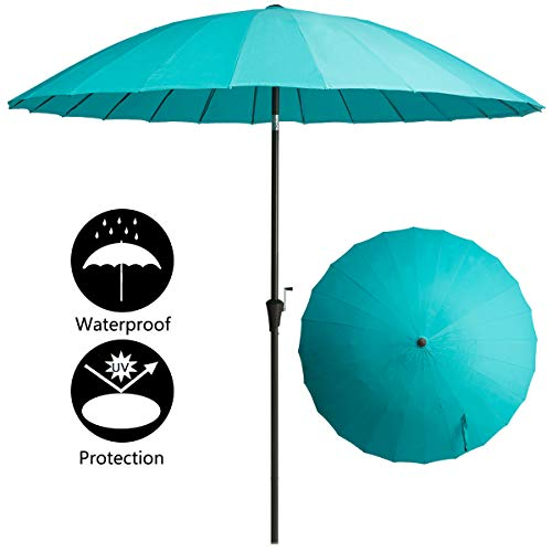 TAGI 9 feet Hand Shake Aluminum Pole Outdoor Patio Umbrella 24 Fiberglass Ribs Crank Lift Hand Tilt, Peacock ()