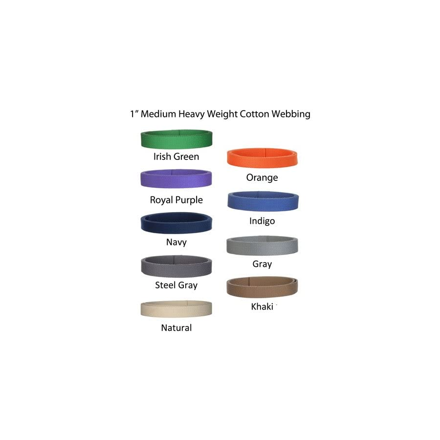 "5 Yards Cotton Webbing 1"" Medium Heavy Weight Webbing 21 Colors to Choose"