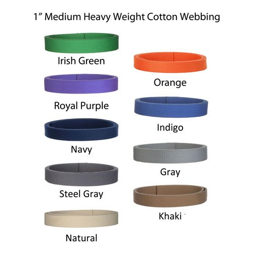 "5 Yards Cotton Webbing 1"" Medium Heavy Weight Webbing 21 Colors to Choose"