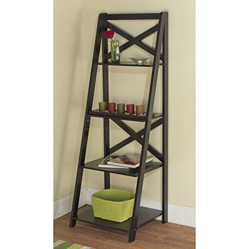 Simple Living Black Wood X-back 4-tier Ladder Shelf Made From Engineering Wood