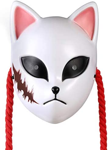 鬼滅の刃 錆兎(さびと)コスプレ お面 樹脂製 狐マスク 男女兼用