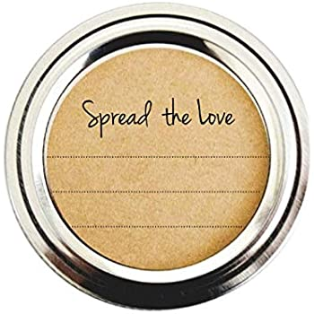 Spread the Love Mason Jar Labels, Stickers for Jam, Jelly, Marmalade and Preserves by Once Upon Supplies, 2 Inches Size for Regular Mason Jars, 40 Pcs